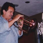 Claudio Roditi, Jazz trumpet and flugelhorn virtuoso, Skylight Studio, Belleville, New Jersey. July, 1999, photo credit, Hilda Kastaris.