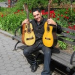 Sam Martinez at a park near his home in Manhattan holding the nylon string guitar and the Puerto Rican Cuatro. June 2014, photo by Demetrios Kastaris.