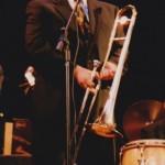 Demetrios Kastaris performing at Flushing Town Hall, Flushing, Queens, New York, at Latin Jazz, la Combinación Perfecta. April 9, 2003. Photo by Jerry Lacay.