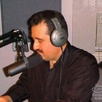 "Demetrios Kastaris being interviewed by Vicki Solá on the air on her show: ""Que Viva La Música"" at WFDU 89.1 FM in Teaneck, New Jersey. Photo credit, Bobby Marin."