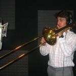 "Achilles Liarmakopoulos records ""Te Exaltamos con Trombones"" with Demetrios Kastaris in Denville, New Jersey, photo by Demetrios Kastaris."