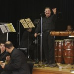Conjunto Katharí, Record Release Concert at the Langston Hughes Community Library and Cultural Center in Corona Queens, New York. On stage: left to right: pianist Joel Weiskopf, trombonist Demetrios Kastaris, percussionist Oreste Abrantes, below stage: bouzouki players, left, Theofilos Katechis, right, Kostas Psarros, November 2, 1013, photo by Norm Harris.