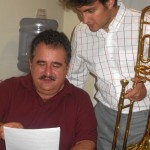 "Demetrios Kastaris collaborates with Achilles Liarmakopoulos while recording ""Te Exaltamos con Trombones"" in Denville, New Jersey."