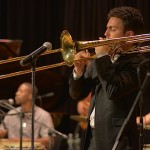 Trombone virtuoso Achilles Liarmakopoulos perform with Conjunto Katharí at the Langston Hughes Community Library and Cultural Center Saturday, October 18, 2015.