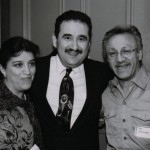 Left to right, Demetrios's wife, Hilda Kastaris, Demetrios, Edy Martinez. (Edy is Hilda's first cousin). Flushing Town Hall, Flushing, Queens, New York, July 29, 2001. Photo by Jerry Lacay.