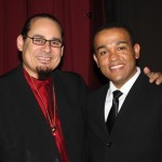 Trombonist, Steve Turre poses with Jazz pianist Wesley Reynoso, after the Katharí Debut concert at Flushing Town Hall, Flushing Queens, New York, December 10, 2010, photo by Norm Harris.
