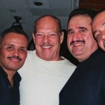 Left to right, conga player, Chembo Corniel, pianist and Salsa Legend Larry Harlow (El Judillo Maravilloso), trombonist Demetrios Kastaris, percussionist, Angel Rodriguez, November, 2003, La Maganette, Manhattan, New York.