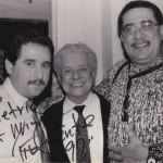 Left to right, Demetrios Kastaris, Tito Puente, Paquito D'Rivera, Village Gate, February 27, 1990. Photo credit: Hilda Kastaris.