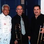 Jazz trombone legend, Slide Hampton, Joe Alessi, Principal, trombonist of the New York Philharmonic, Demetrios Kastaris, The Mannes School of Music, Manhattan, New York. January, 2003.