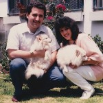 Demetrios and Hilda playing with the family dogs while visiting the home of Hilda's parents, Noro (Luis Antonio) Bastidas, and Hilda Virginia Bastidas) in Bogotá, Colombia, South America.