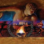 """""""Kyklos, the Circle of Glory"""" by artist Euripides Kastaris mounted in the Spiros Louis Olympic Stadium in 2004 in Athens, Greece."""