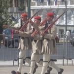 Three marching Evzones, Athens, Greece, photo credit: Demetrios Kastaris, September, 2014.