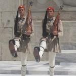 Two marching Evzones, Athens, Greece, photo credit: Demetrios Kastaris, September, 2014.