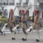Three marching Evzone Soldiers, Athens, Greece, photo credit: Demetrios Kastaris, September, 2014.